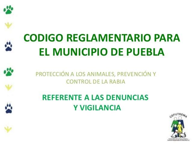 CODIGO REGLAMENTARIO PARA EL MUNICIPIO DE PUEBLA PROTECCIÓN A LOS ANIMALES, PREVENCIÓN Y CONTROL DE LA RABIA REFERENTE A L...