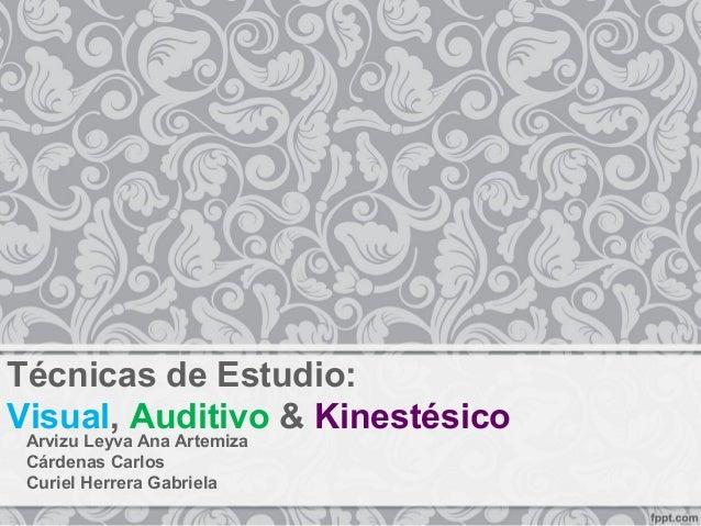 Técnicas de Estudio: Visual, Auditivo & Kinestésico Arvizu Leyva Ana Artemiza Cárdenas Carlos Curiel Herrera Gabriela