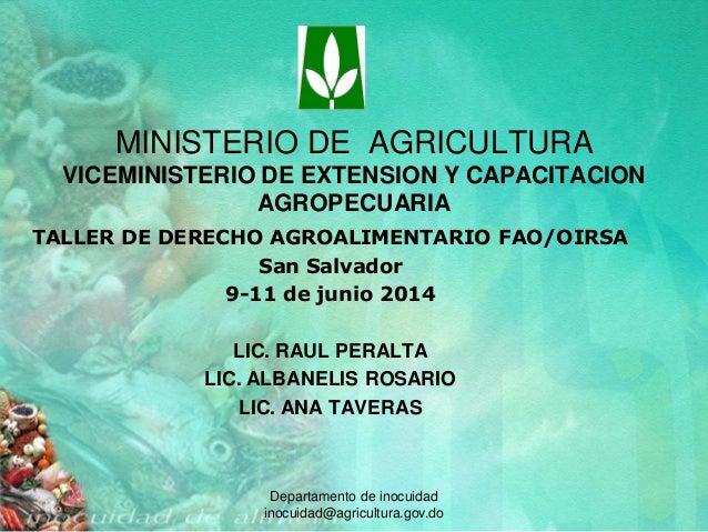 Marco jurídico sobre medidas sanitarias y fitosanitarias en Rep. Dominicana