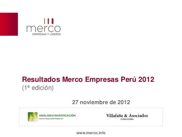 Resultados Merco Empresas Perú 2012(1ª edición)               27 noviembre de 2012                www.merco.info