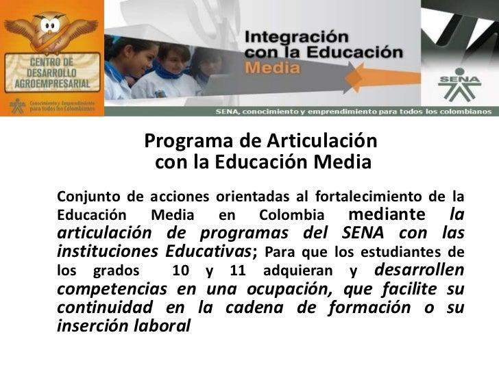 Programa de Articulación con la Educación Media Conjunto de a cciones orientadas al fortalecimiento de la Educación Media ...