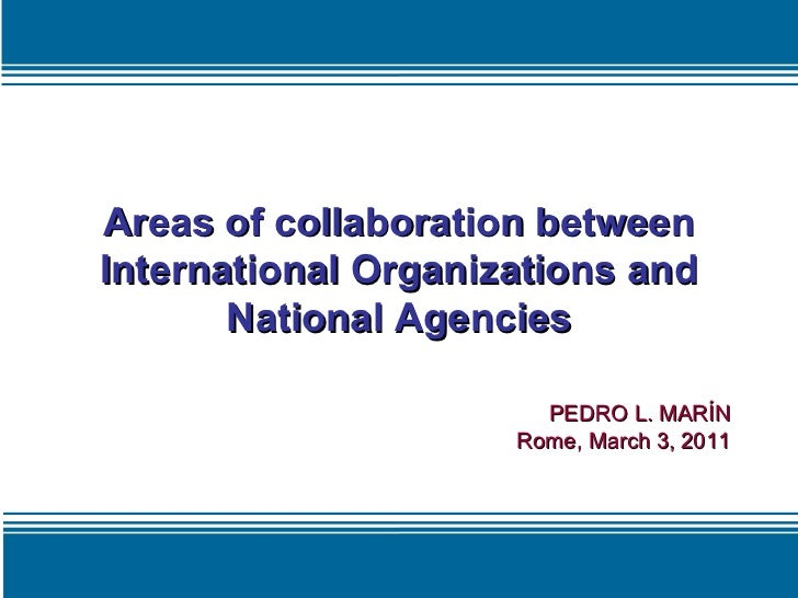 Areas of collaboration between International Organizations and National Agencies PEDRO L. MARÍN Rome, March 3, 2011