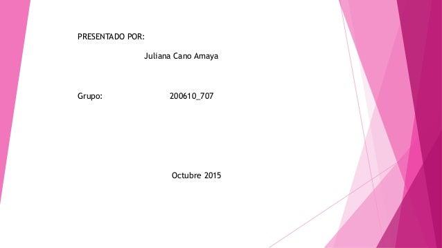PRESENTADO POR: Juliana Cano Amaya Grupo: 200610_707 Octubre 2015