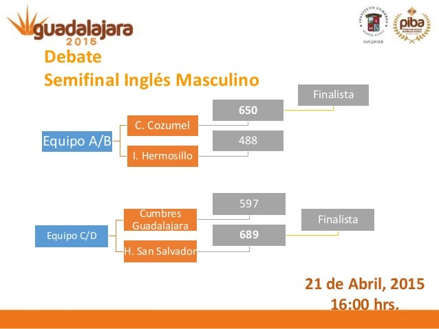 Equipo A/B C. Cozumel 650 Finalista I. Hermosillo 488 Debate Semifinal Inglés Masculino Equipo C/D Cumbres Guadalajara 597...