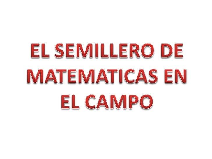 EL SEMILLERO DE MATEMATICAS EN EL CAMPO<br />