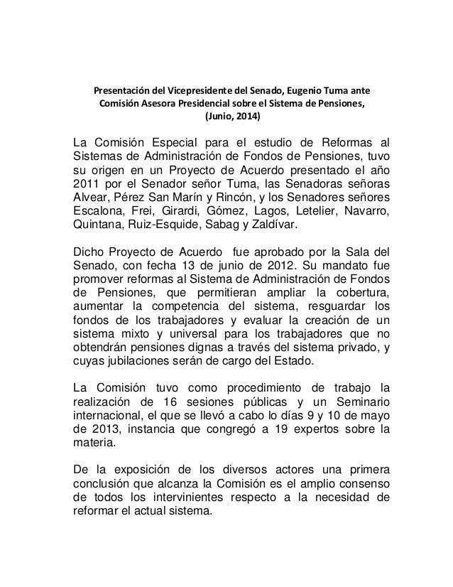 Presentación del Vicepresidente del Senado, Eugenio Tuma ante Comisión Asesora Presidencial sobre el Sistema de Pensiones,...