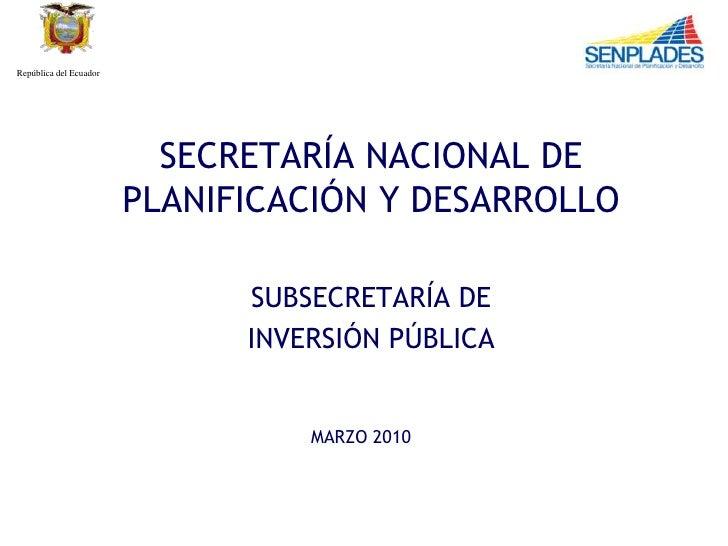 República del Ecuador                               SECRETARÍA NACIONAL DE                         PLANIFICACIÓN Y DESARRO...