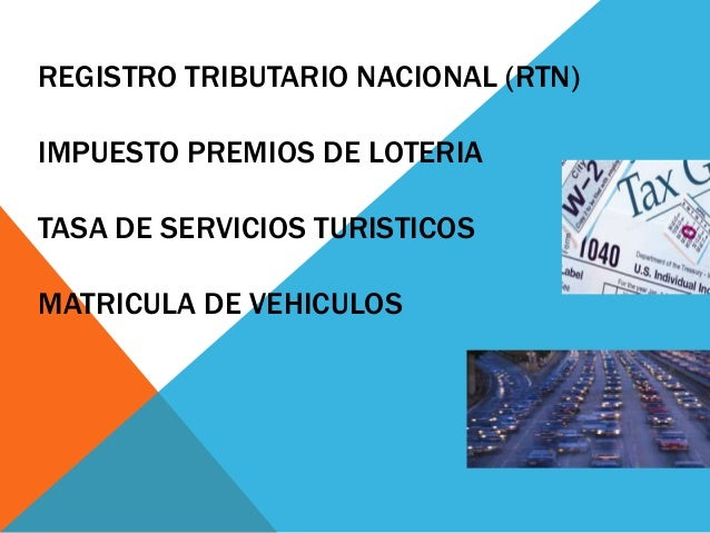 REGISTRO TRIBUTARIO NACIONAL (RTN)IMPUESTO PREMIOS DE LOTERIATASA DE SERVICIOS TURISTICOSMATRICULA DE VEHICULOS