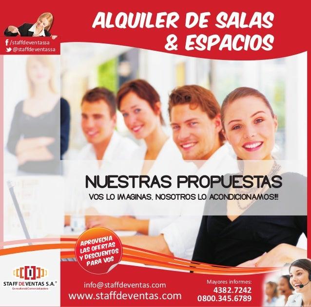 ALQUILER DE SALAS  /staffdeventassa   @staffdeventassa                             & ESPACIOS                             ...