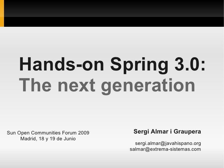 Hands-on Spring 3: The next generation