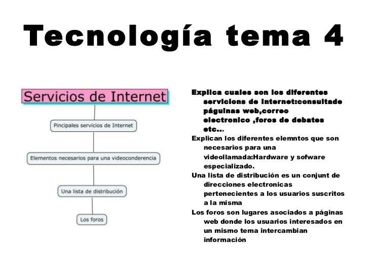 Tecnología tema 4 <ul><li>Explica cuales son los diferentes servicions de Internet:consultade páguinas web,correo electron...