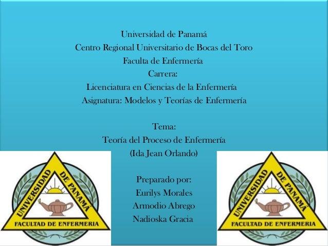 Universidad de Panamá Centro Regional Universitario de Bocas del Toro Faculta de Enfermería Carrera: Licenciatura en Cienc...