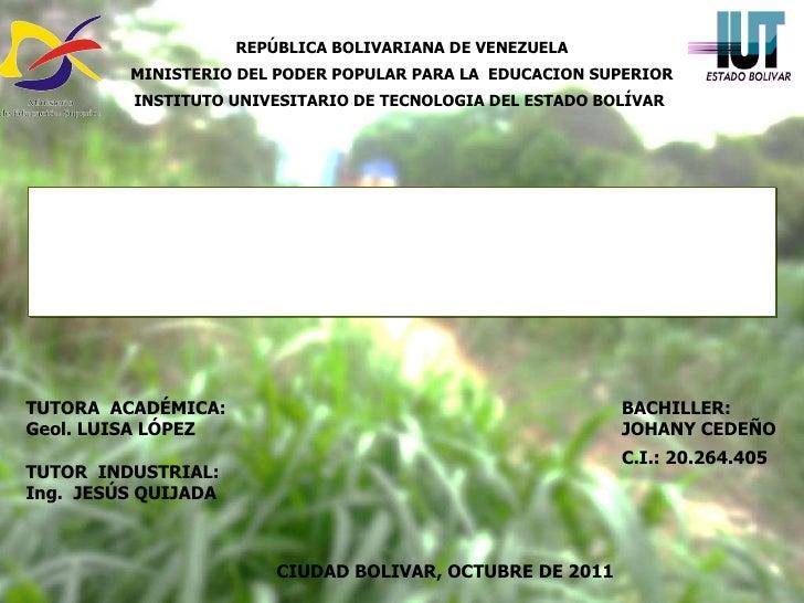 REPÚBLICA BOLIVARIANA DE VENEZUELA MINISTERIO DEL PODER POPULAR PARA LA  EDUCACION SUPERIOR INSTITUTO UNIVESITARIO DE TECN...