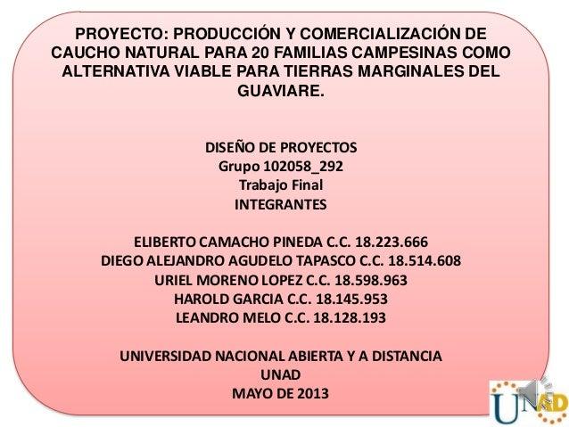 PROYECTO: PRODUCCIÓN Y COMERCIALIZACIÓN DECAUCHO NATURAL PARA 20 FAMILIAS CAMPESINAS COMOALTERNATIVA VIABLE PARA TIERRAS M...