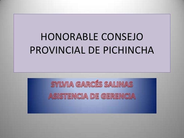 HONORABLE CONSEJOPROVINCIAL DE PICHINCHA