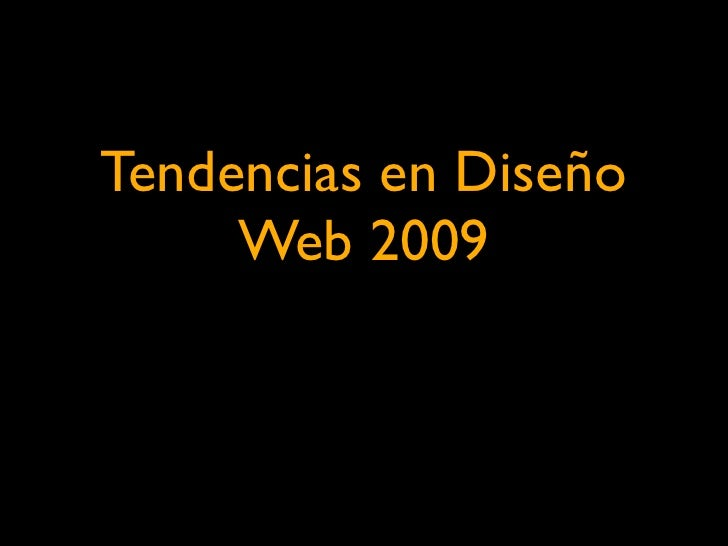 Tendencias Web para el 2009