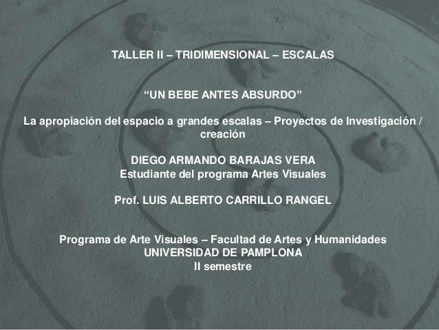 """TALLER II – TRIDIMENSIONAL – ESCALAS """"UN BEBE ANTES ABSURDO"""" La apropiación del espacio a grandes escalas – Proyectos de I..."""