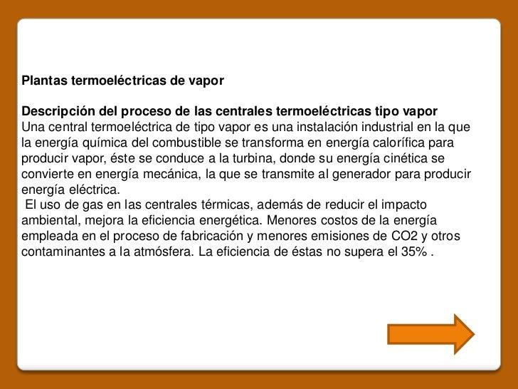 plantas termoeléctricas de vapordescripción del proceso de las
