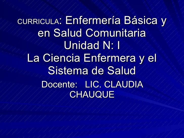 CURRICULA : Enfermería Básica y en Salud Comunitaria Unidad N: I La Ciencia Enfermera y el Sistema de Salud Docente:  LIC....