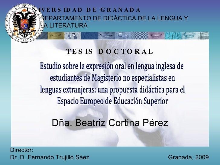 Presentacion de la tesis doctoral de Beatriz Cortina