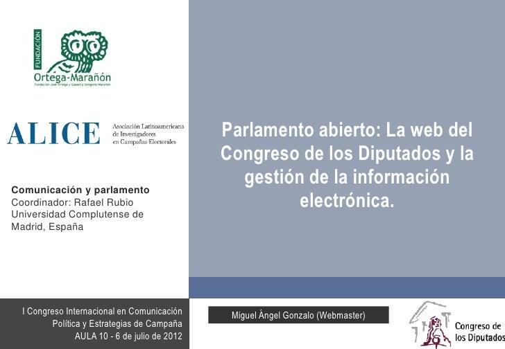 Parlamento abierto: La web del Congreso de los Diputados y la gestión de la información electrónica