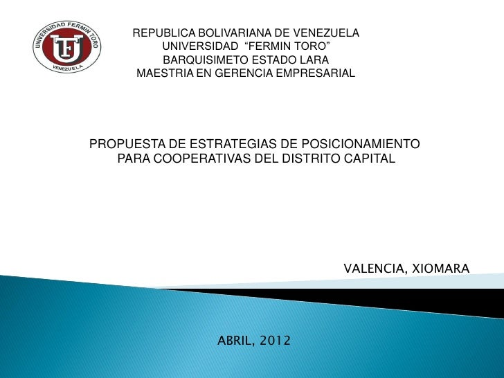 "REPUBLICA BOLIVARIANA DE VENEZUELA         UNIVERSIDAD ""FERMIN TORO""         BARQUISIMETO ESTADO LARA      MAESTRIA EN GER..."