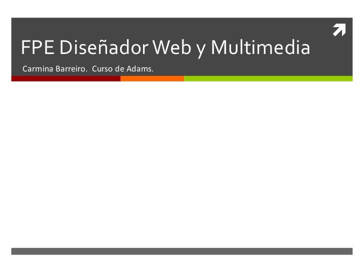FPE Diseñador Web y Multimedia<br />Carmina Barreiro. Curso de Adams.<br />