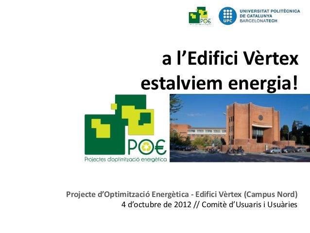 Consum Energètic Edifici Vèrtex 1Semestre 2012