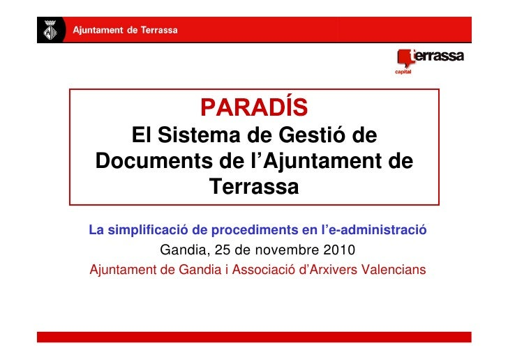 Presentació sistema PARADIS a Ajuntament de Gandia i Associació d'Arxivers Valencians