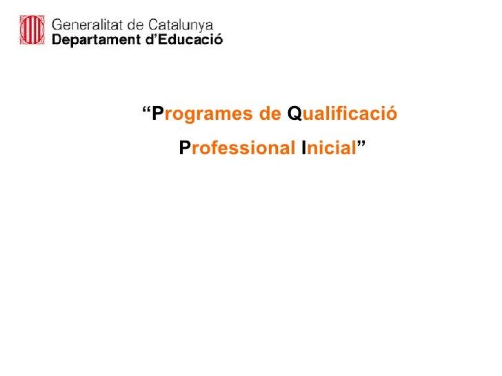 """"""" P rogrames   de  Q ualificació P rofessional  I nicial """""""