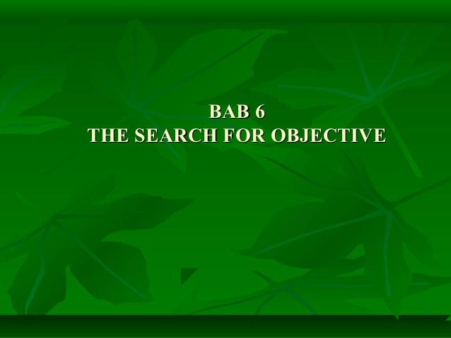 The Search  For Objective