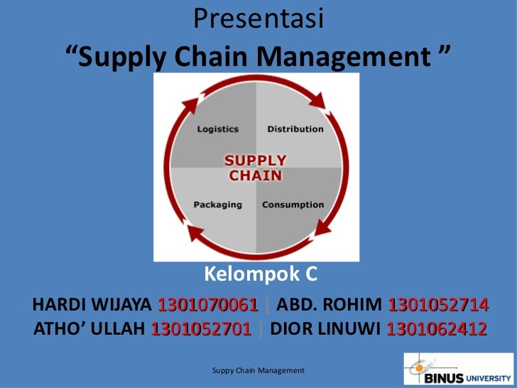 "Presentasi ""Supply Chain Management "" Kelompok C HARDI WIJAYA  1301070061  |  ABD. ROHIM  1301052714  ATHO' ULLAH   130105..."