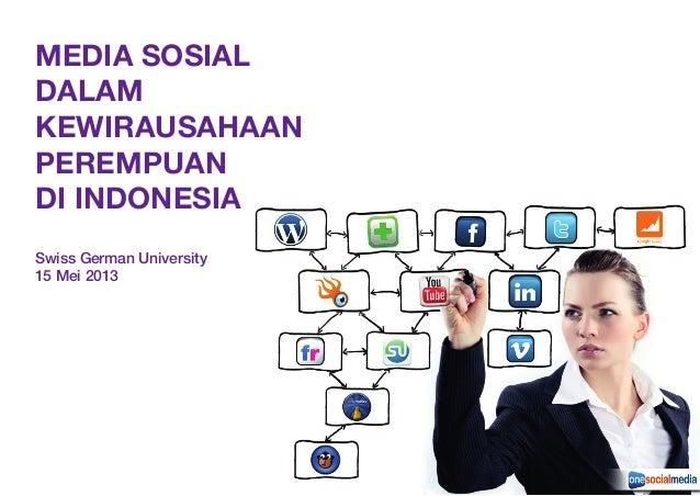 MEDIA SOSIALDALAMKEWIRAUSAHAANPEREMPUANDI INDONESIASwiss German University15 Mei 2013