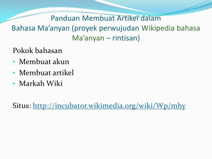 Panduan Membuat Artikel-Proyek Wikipedia Maanyan