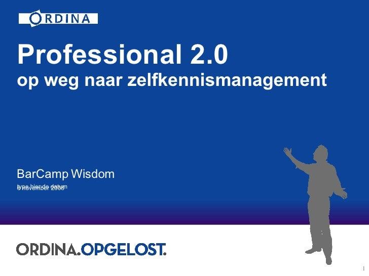 Professional 2.0 op weg naar zelfkennismanagement BarCamp Wisdom   6 november 2008