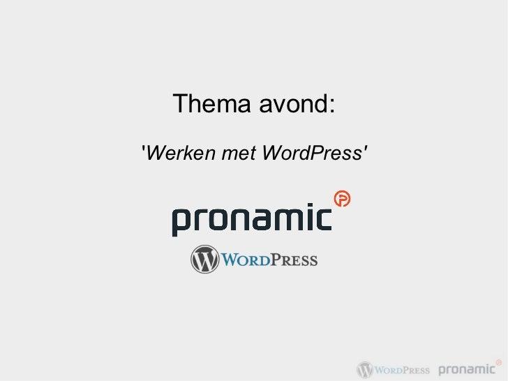 Werken met WordPress