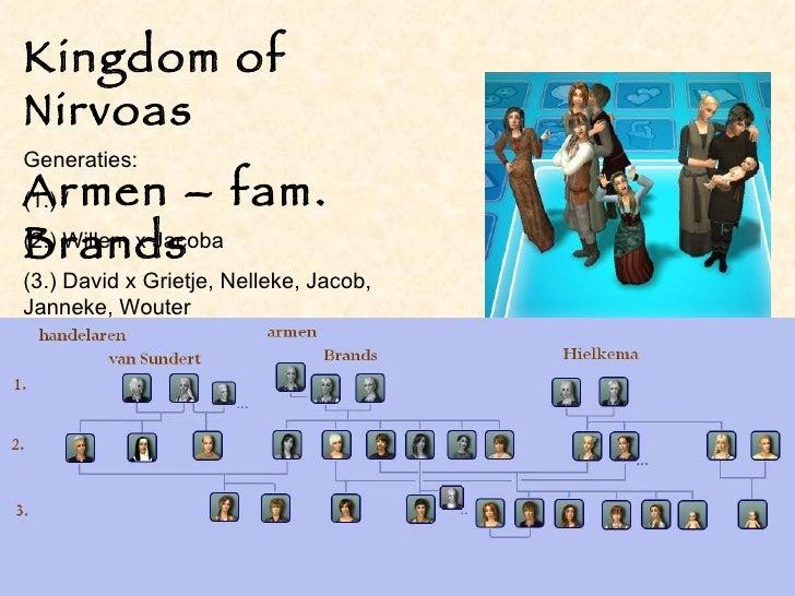 Kingdom of Nirvoas Armen – fam. Brands Generaties: (1.) / (2.) Willem x Jacoba (3.) David x Grietje, Nelleke, Jacob, Janne...