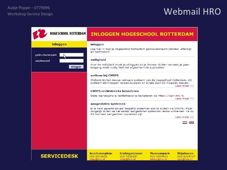 Webmail HRO Aukje Poppe – 0779096 Workshop Service Design