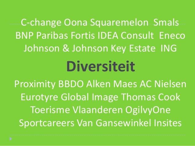 C-change Oona Squaremelon SmalsBNP Paribas Fortis IDEA Consult EnecoJohnson & Johnson Key Estate INGDiversiteit Proximit...