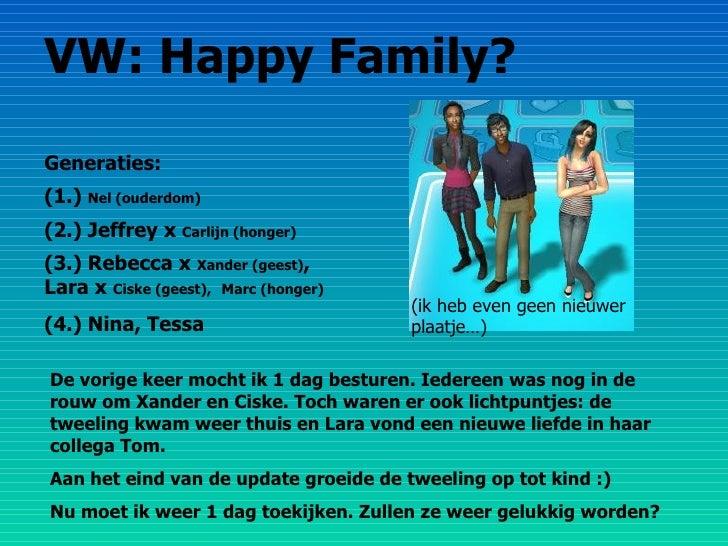 VW: Happy Family? Generaties: (1.)  Nel (ouderdom) (2.) Jeffrey x  Carlijn (honger) (3.) Rebecca x  Xander (geest) , Lara ...