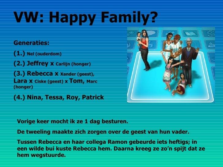 VW: Happy Family? Generaties: (1.)  Nel (ouderdom) (2.) Jeffrey x  Carlijn (honger) (3.) Rebecca x  Xander (geest),  Lara ...
