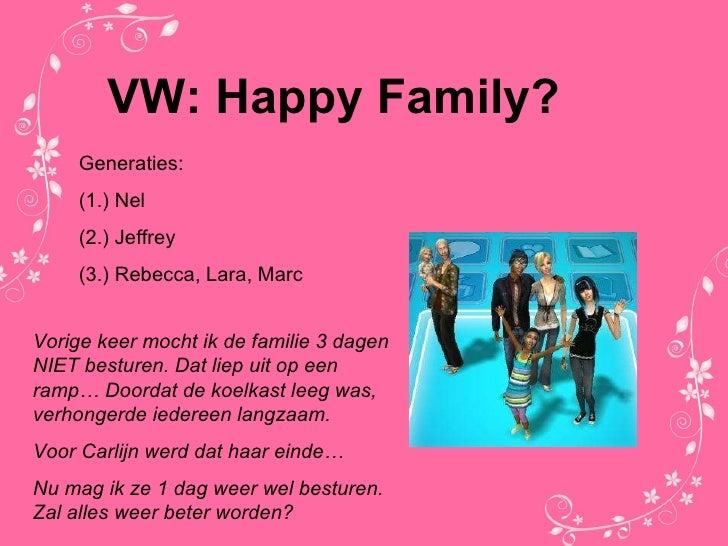 VW: Happy Family? Generaties: (1.) Nel (2.) Jeffrey  (3.) Rebecca, Lara, Marc Vorige keer mocht ik de familie 3 dagen NIET...