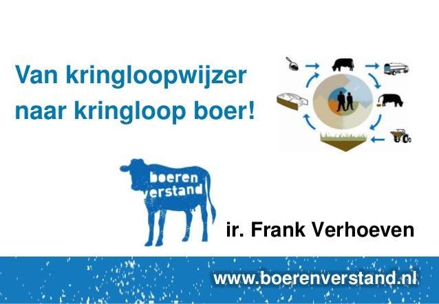 Van kringloopwijzer naar kringloop boer!  ir. Frank Verhoeven www.boerenverstand.nl