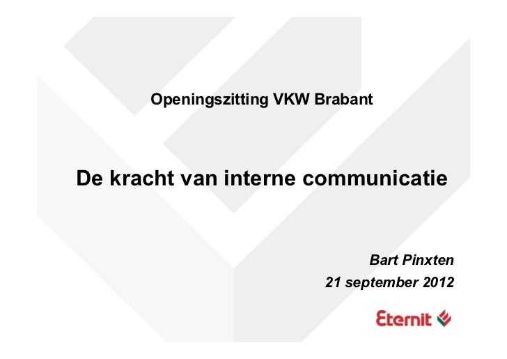 Openingszitting VKW Brabant 2012 - Presentatie Bart Pinxten