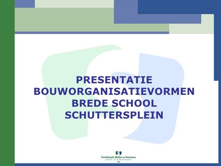 PRESENTATIEBOUWORGANISATIEVORMEN     BREDE SCHOOL    SCHUTTERSPLEIN