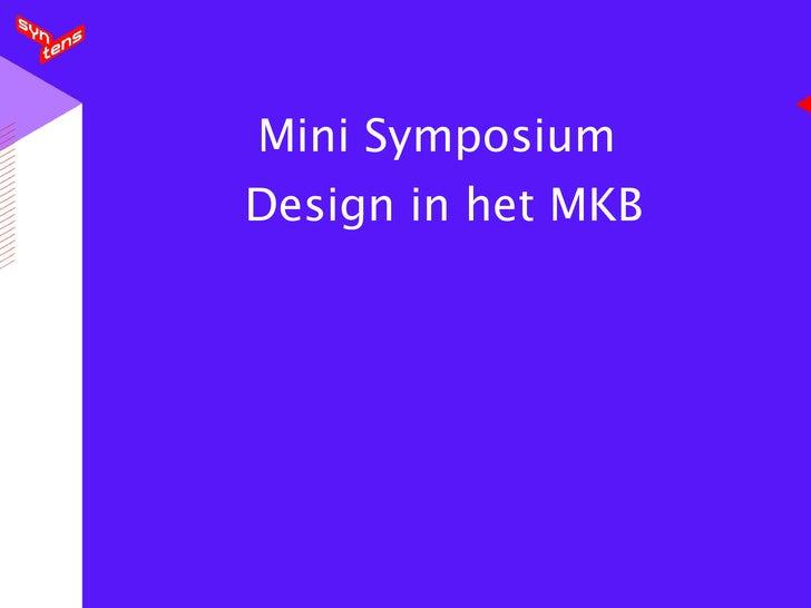 Mini Symposium  Design in het MKB