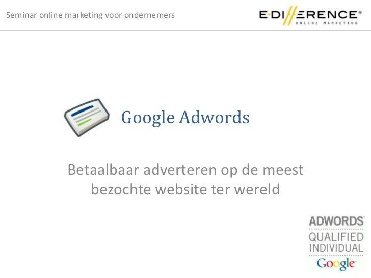 Presentatie Google Adwords