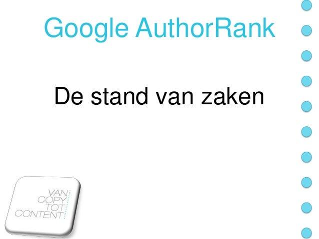 Presentatie Google Author Rank: de stand van zaken
