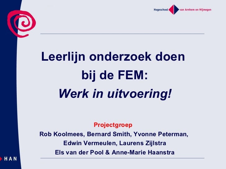 Leerlijn onderzoek doen  bij de FEM: Werk in uitvoering!