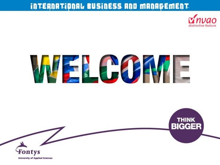 Fontys Presentatie International Business and Management Studies, Open Dag maart 2011